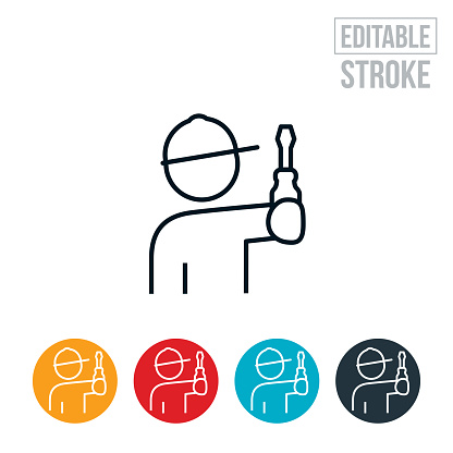 Worker With Screwdriver Thin Line Icon - Editable Stroke