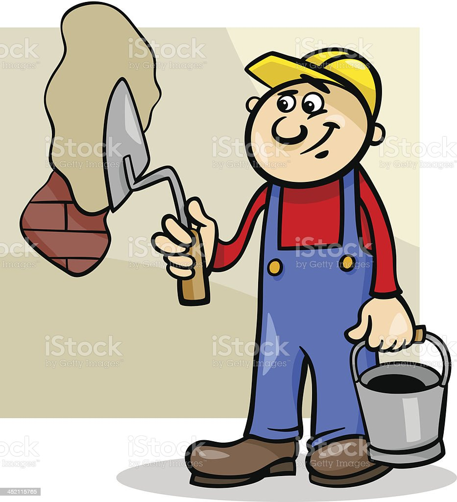 worker with trowel cartoon illustration royalty-free stock vector art