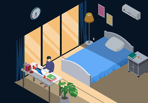 Worker work from home in bedroom in the evening near mirror. Isometric room interior and character using laptop. Stay at home.
