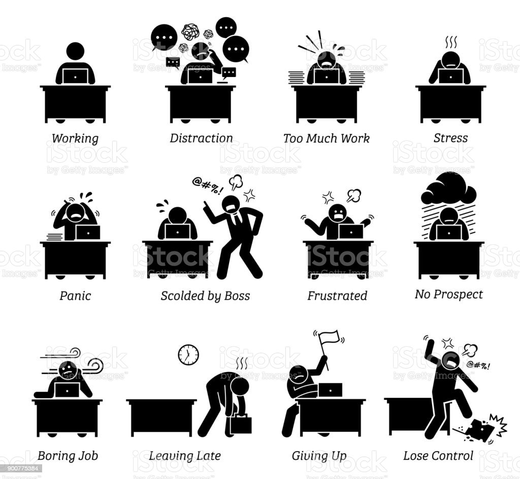 Worker working in a very stressful office workplace. vector art illustration