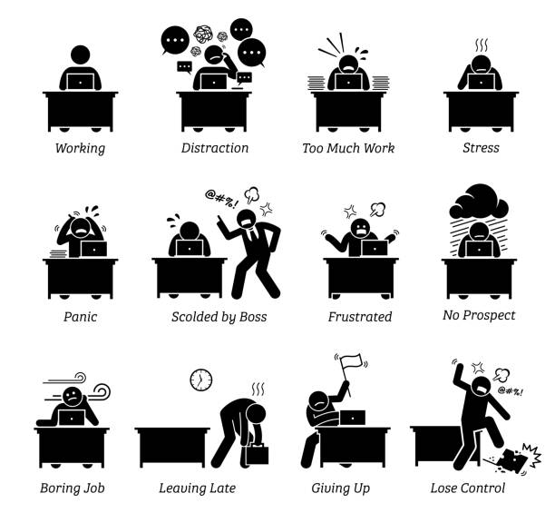 Worker working in a very stressful office workplace. The employee is distracted, having too much work, frustrated and scolded by boss. The job is boring, tiring, inefficient and has no prospect. overworked stock illustrations
