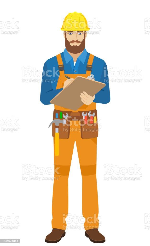 Worker writes on the clipboard closeup vector art illustration
