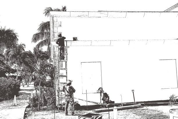 Workers at a Mexican tourist resort. Extra copy space Mezzotint silhouette of Workers at a Mexican tourist resort minimum wage stock illustrations