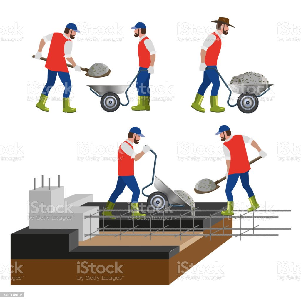 Workers at the construction site vector art illustration