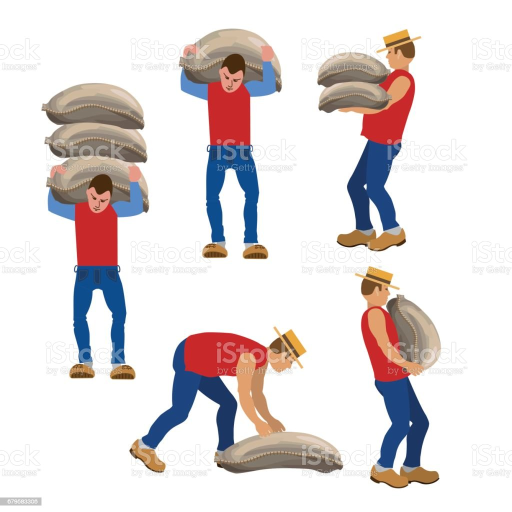 Workers carrying sacks. vector art illustration