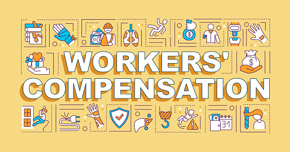 Workers compensation word concepts banner. On-the-job injury. Infographics with linear icons on orange background. Isolated typography. Vector outline RGB color illustration