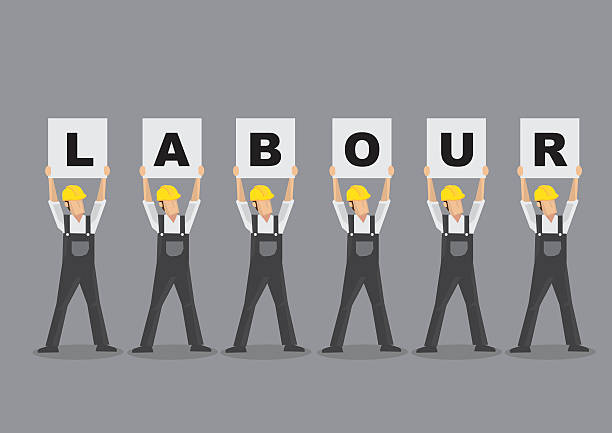 Workers Holding Up Labour Placards Vector Illustration Cartoon characters as workers wearing overall and yellow helmet and holding up placards that spelled Labour. Vector illustration isolated on grey background. minimum wage stock illustrations