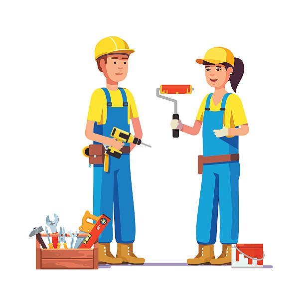 Workers in uniform Workers in uniform. Painter and carpenter craftsman. Flat style modern vector illustration. house painter stock illustrations
