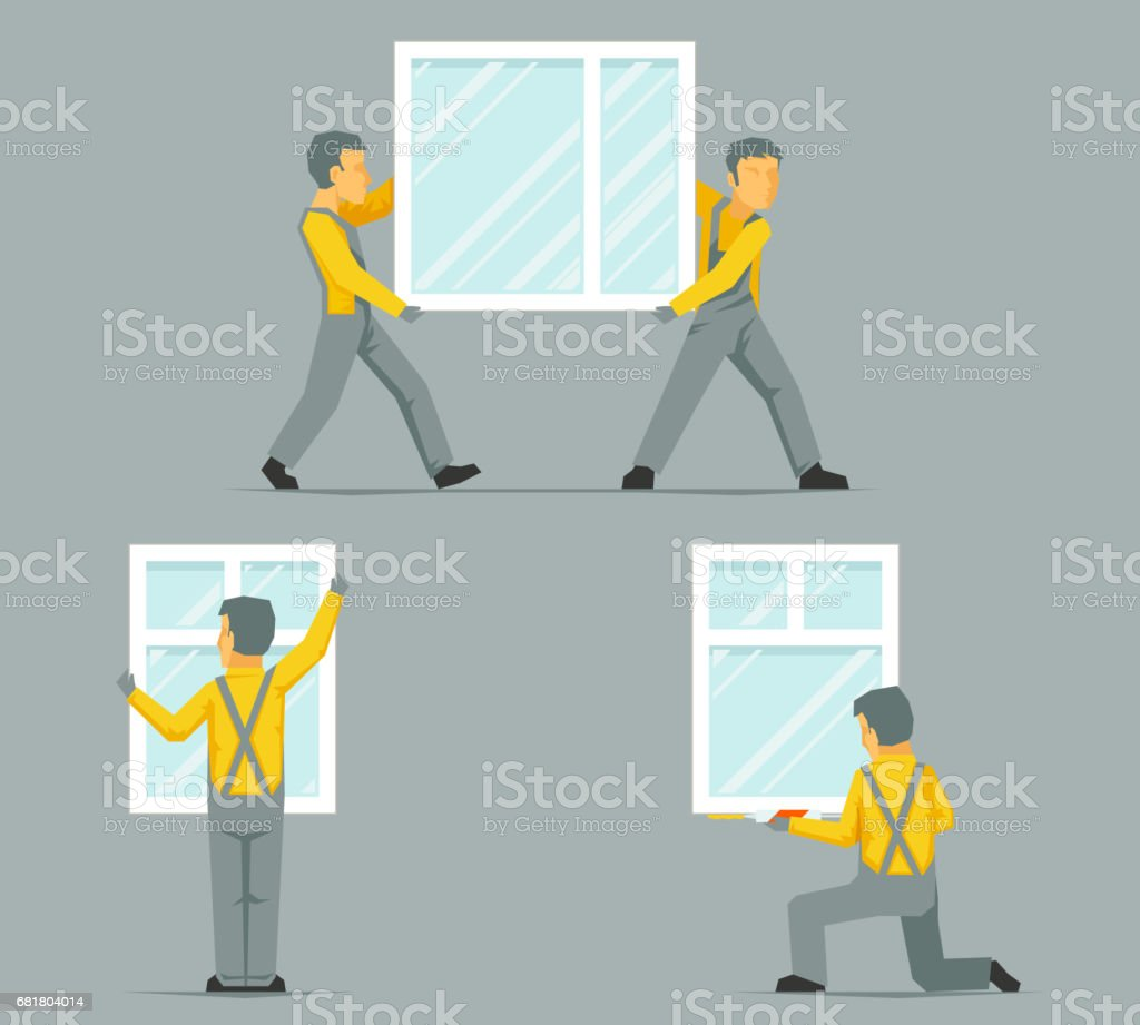 Workers Install Carry House Windows Building Glass Icons Set Flat ...