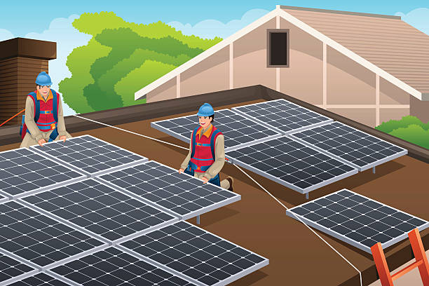 Best Solar Panel Installation Illustrations Royalty Free