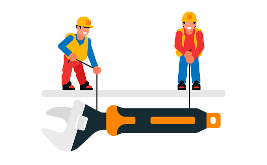 Workers lowering a large wrench. Builders and wrenches, tools, repairs, maintenance. Isolated vector illustration on white background.