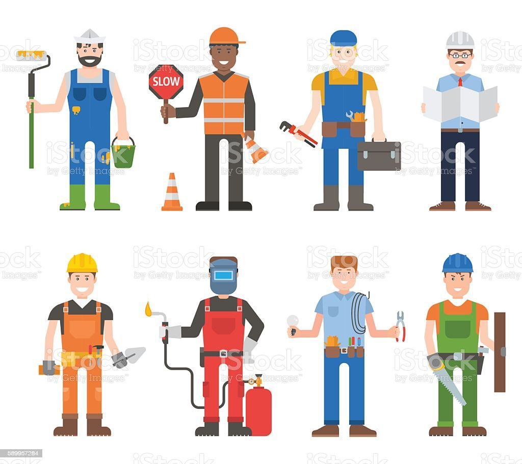 Workers man vector set. vector art illustration