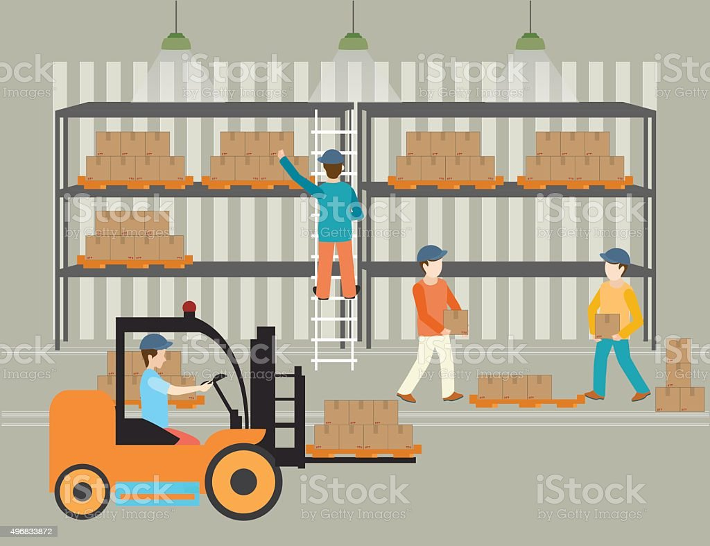 Workers of warehouse load boxes. vector art illustration