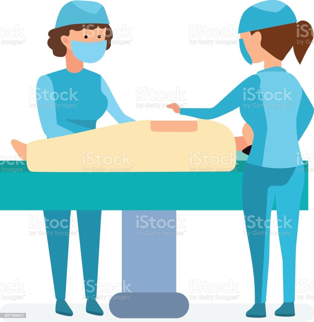 Workers on operation, take patient on table, help each other vector art illustration