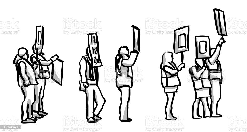Workers On Strike - ilustração de arte vetorial