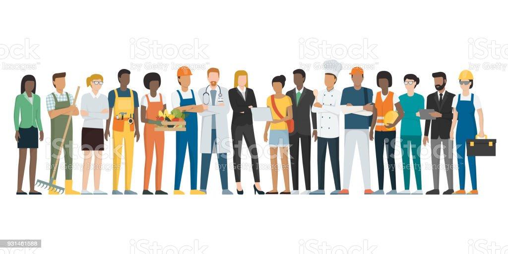 Workers standing together vector art illustration