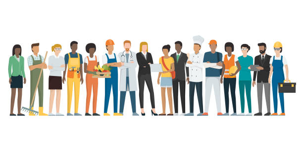 illustrazioni stock, clip art, cartoni animati e icone di tendenza di workers standing together - lavoro