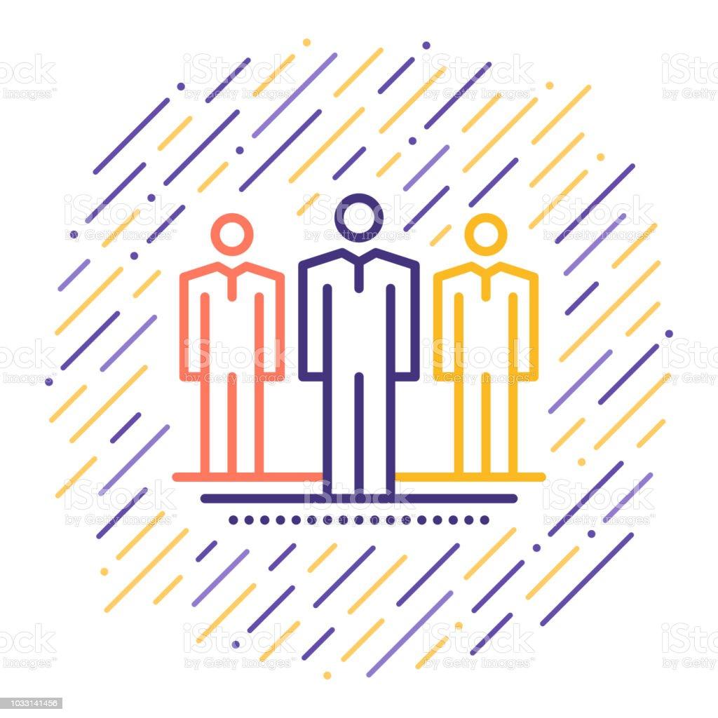 Workers Strike Line Icon - ilustração de arte vetorial