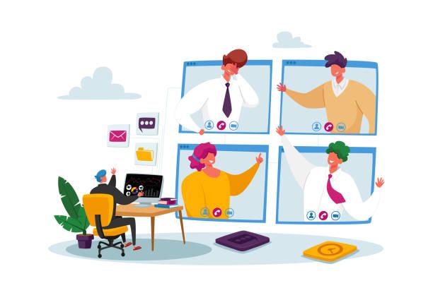 bildbanksillustrationer, clip art samt tecknat material och ikoner med arbetare webcam gruppkonferens med medarbetare på huge computer. affärskaraktärer, office-anställda videosamtal - närbild