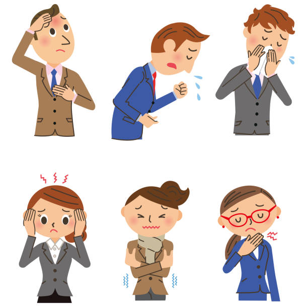 Workers with colds Illustration of an office worker with a cold sore throat stock illustrations