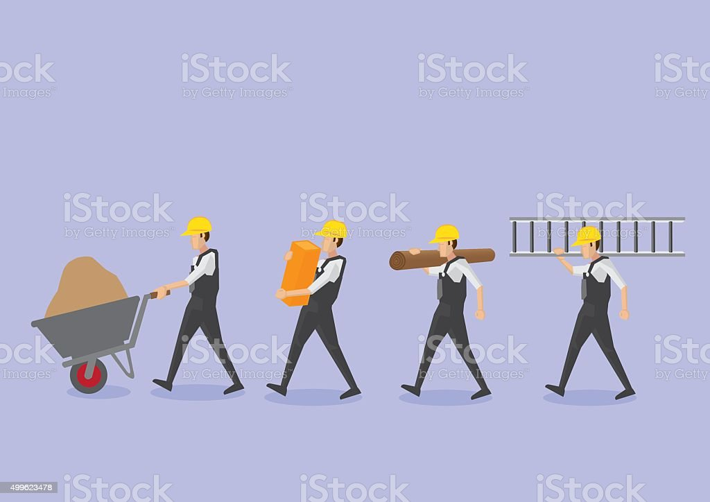 Workers with Tools in Profile View Vector Icon Set vector art illustration