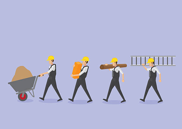arbeitnehmer mit werkzeugen im profil anzeigen vektor-icon-set - bauarbeiter stock-grafiken, -clipart, -cartoons und -symbole