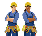 Set of European and African female workers with tools. Cartoon smiling work women, builder wearing safety helmet, coveralls and toolbelt. Vector illustration isolated on the white background