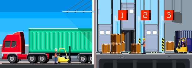 Workers work inside a warehouse, downloading the contents of a container truck, containerization, inventory management, zone picking, new normal, hygiene and prevention covid-19 vector art illustration