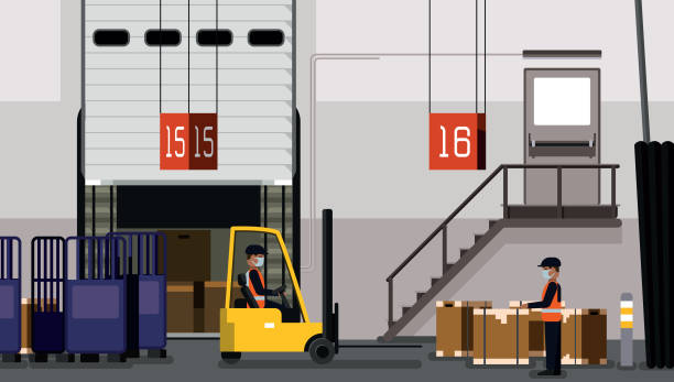 Workers work inside a warehouse, downloading the contents of a container, inventory management, zone picking vector art illustration