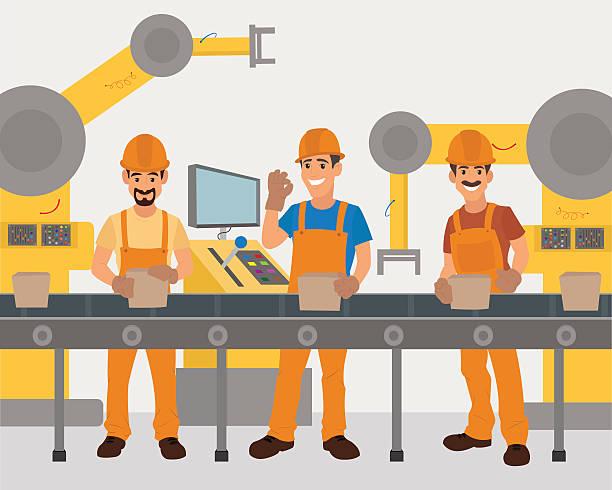 workers work on the conveyor. vector art illustration