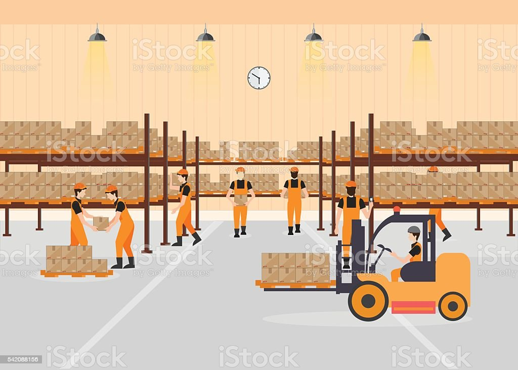 Workers working at warehouse. vector art illustration