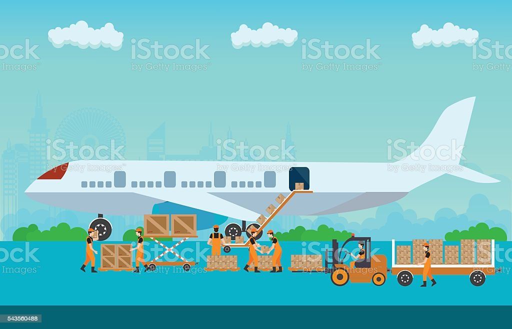 Workers working to Loading boxes. vector art illustration
