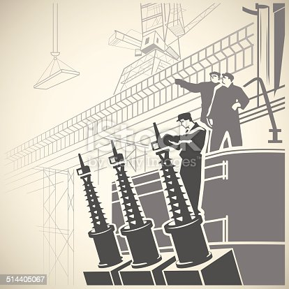 Construction workers setting up equipment and observing the vast building site retro vector illustration