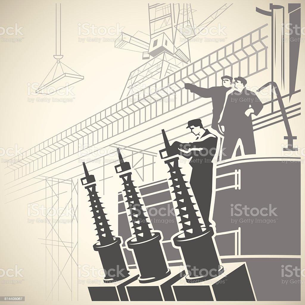 Workers5 vector art illustration
