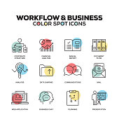 Workflow and Business icons. Vector line icons set. Premium quality. Modern outline symbols and pictograms.