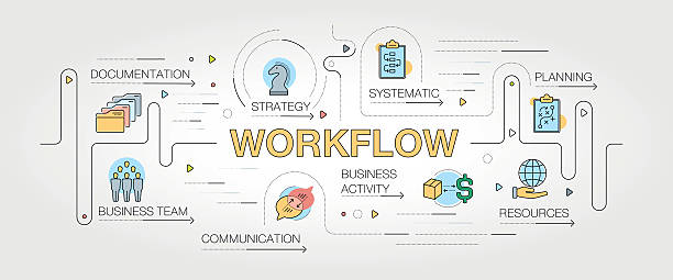 Workflow banner and icons - Illustration vectorielle