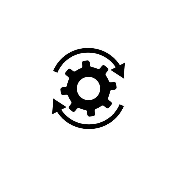 Workflow gears with arrows icon Workflow gears with arrows icon. Vector eps10 aerodynamic stock illustrations