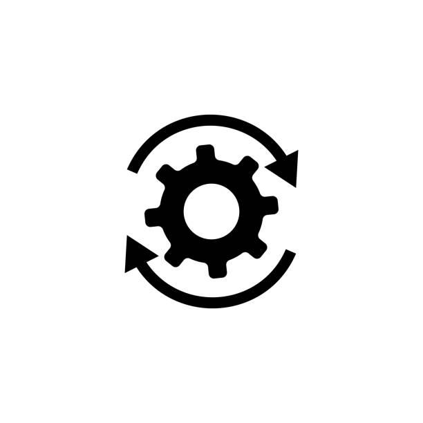 illustrazioni stock, clip art, cartoni animati e icone di tendenza di workflow gears with arrows icon - efficacia