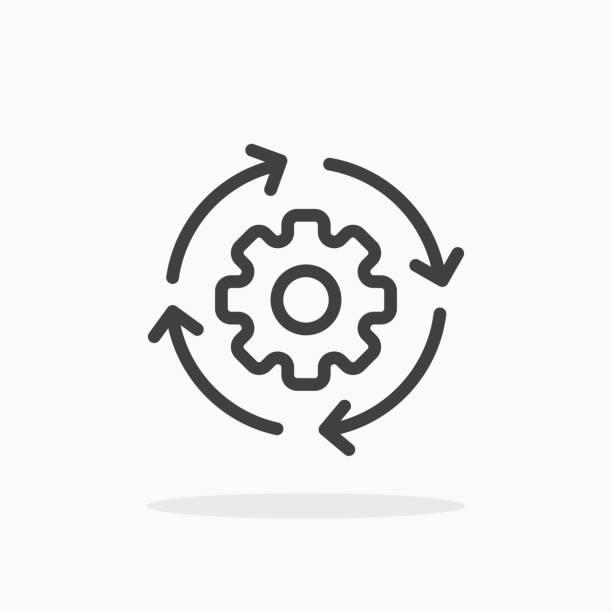 illustrazioni stock, clip art, cartoni animati e icone di tendenza di icona flusso di lavoro in stile linea. - efficacia