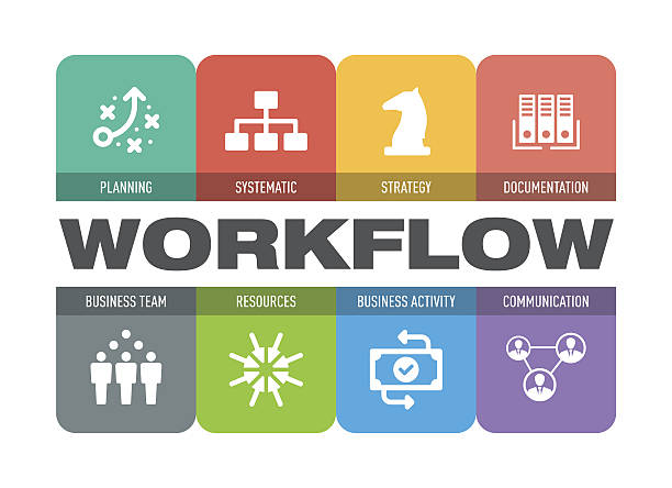Workflow Icon Set Workflow Icon Set aerodynamic stock illustrations