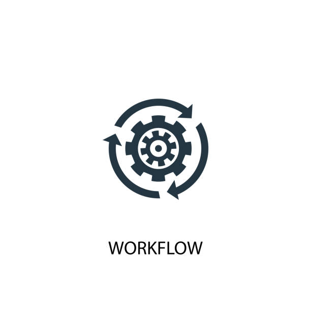 Workflow icon. Simple element illustration Workflow icon. Simple element illustration. Workflow symbol design from Startup collection. Can be used for web and mobile. automated stock illustrations