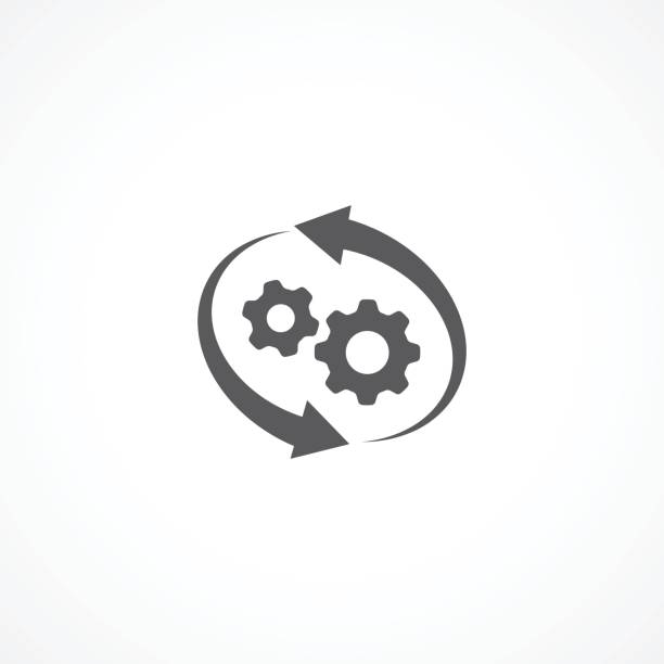 Workflow Icon Gray Workflow Icon on white background aerodynamic stock illustrations