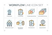 Workflow chart with keywords and line icons