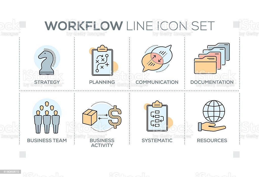Workflow keywords with line icons vector art illustration