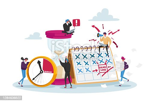 Workflow Organization. Tiny Office Employee Characters Overload at Work with Docs. Managers with Huge Steak of Documents and Alarm Clock, Boss Yelling at Workplace. Cartoon People Vector Illustration