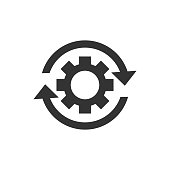 istock Workflow process icon in flat style. Gear cog wheel with arrows vector illustration on white isolated background. Workflow business concept. 1033799364
