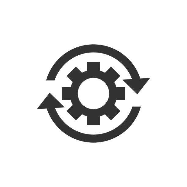 Workflow process icon in flat style. Gear cog wheel with arrows vector illustration on white isolated background. Workflow business concept. Workflow process icon in flat style. Gear cog wheel with arrows vector illustration on white isolated background. Workflow business concept. aerodynamic stock illustrations
