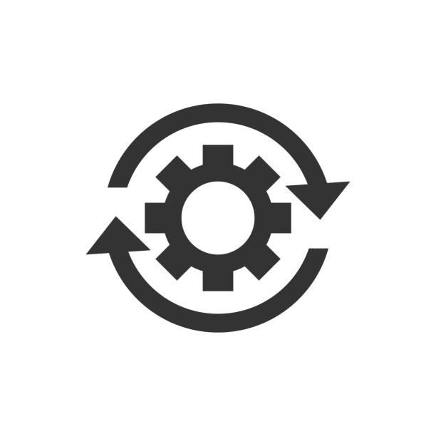 평면 스타일에서 워크플로 프로세스 아이콘입니다. 격리 된 백색 배경에 화살표 벡터 일러스트와 함께 기어 cog 휠. 워크플로 비즈니스 개념입니다. - 날씬한 stock illustrations