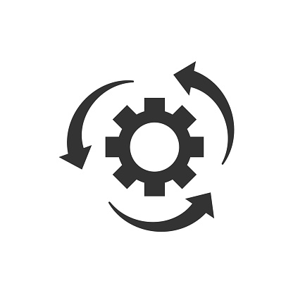 Workflow Process Icon In Flat Style Gear Cog Wheel With