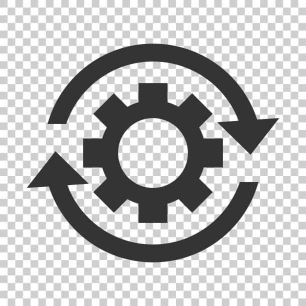 Workflow process icon in flat style. Gear cog wheel with arrows vector illustration on isolated background. Workflow business concept. Workflow process icon in flat style. Gear cog wheel with arrows vector illustration on isolated background. Workflow business concept. aerodynamic stock illustrations